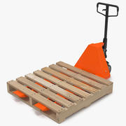 Palettenheber und Holzpaletten 3D-Modell 3d model