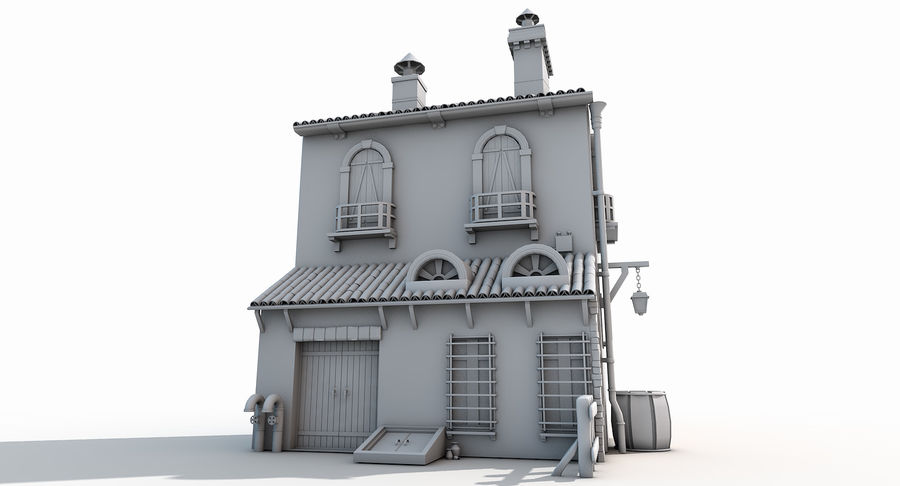 Casa velha royalty-free 3d model - Preview no. 3