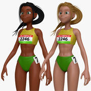 Cartoon Track and Field Athlete Sculpt 3d model
