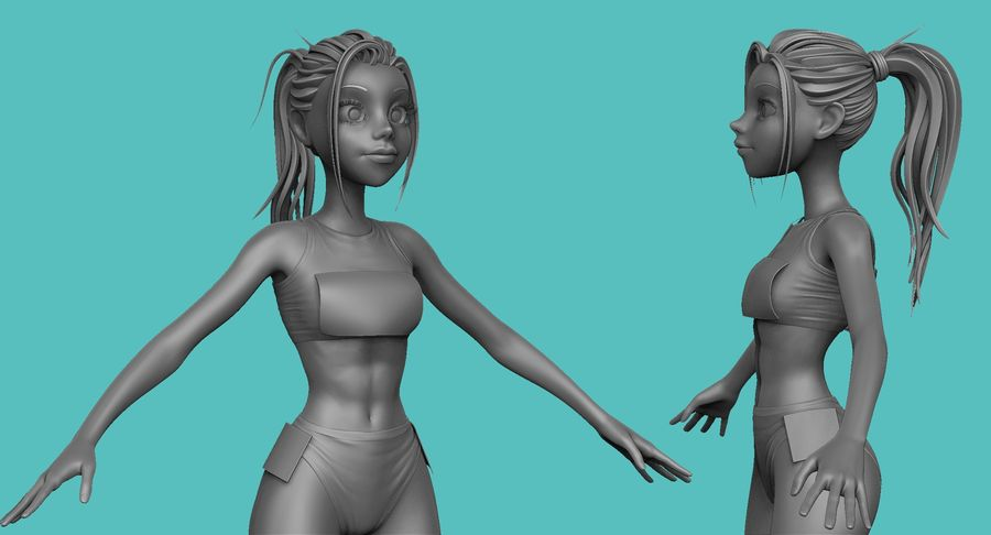 Cartoon Track and Field Athlete Sculpt royalty-free 3d model - Preview no. 23