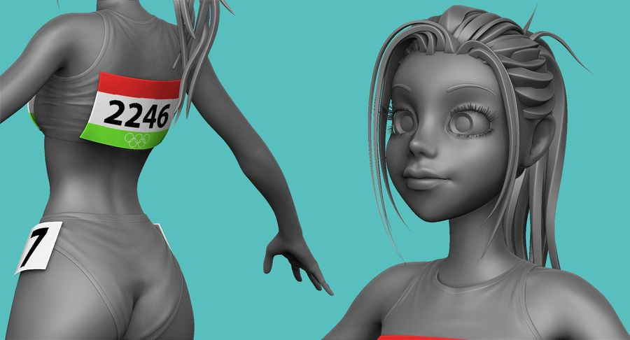 Cartoon Track and Field Athlete Sculpt royalty-free 3d model - Preview no. 18
