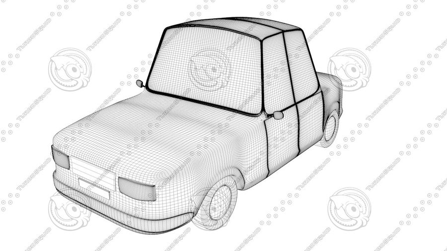 Cartoon car(1) royalty-free 3d model - Preview no. 4
