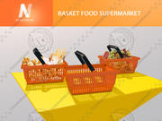 Panier alimentaire supermarché 3d model