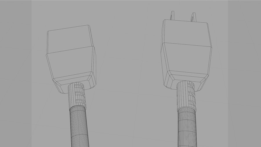 Power Cable With Dynamic Spline royalty-free 3d model - Preview no. 11