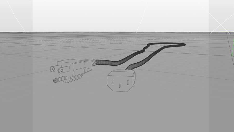 Power Cable With Dynamic Spline royalty-free 3d model - Preview no. 3