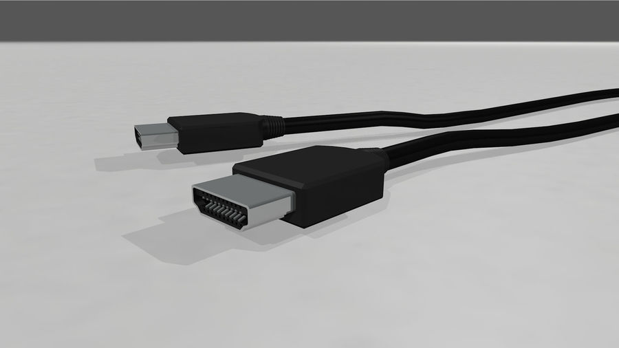 HDMI Cable With Dynamic Spline royalty-free 3d model - Preview no. 4