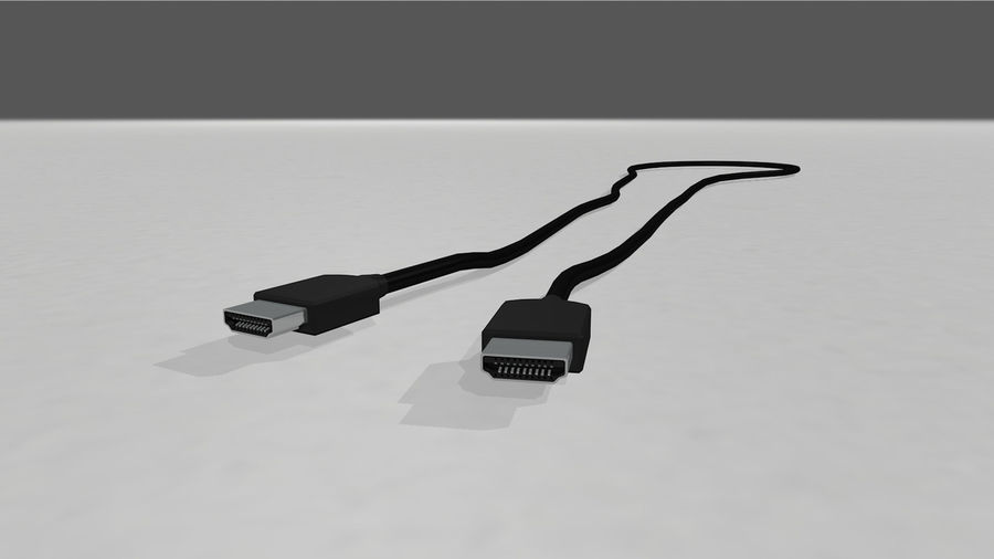 HDMI Cable With Dynamic Spline royalty-free 3d model - Preview no. 2