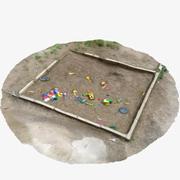 Speeltuin 3 - Oude zandbak met speelgoed 3d model