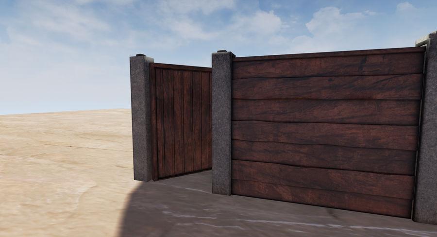 Portão e cerca de madeira royalty-free 3d model - Preview no. 7