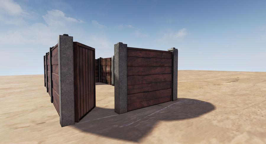 Portão e cerca de madeira royalty-free 3d model - Preview no. 6