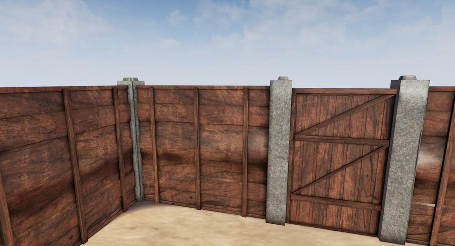 Portão e cerca de madeira royalty-free 3d model - Preview no. 2
