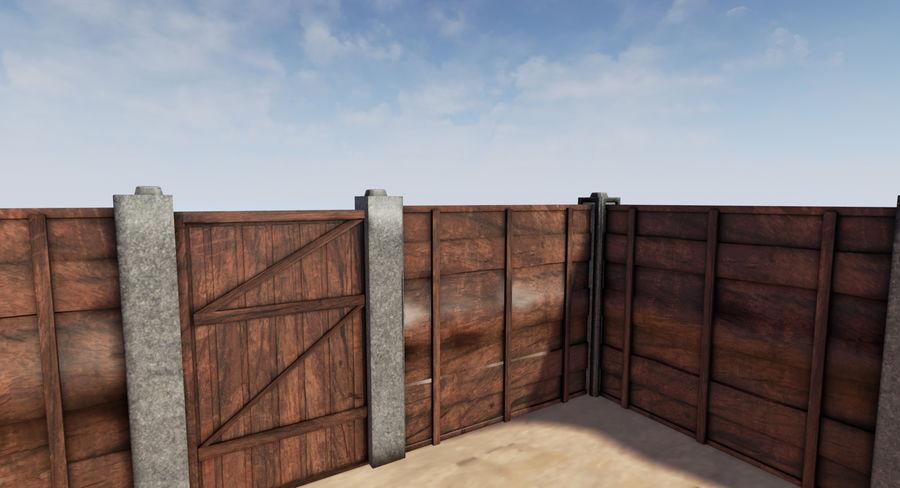 Portão e cerca de madeira royalty-free 3d model - Preview no. 1