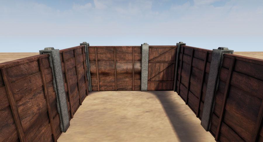 Portão e cerca de madeira royalty-free 3d model - Preview no. 4