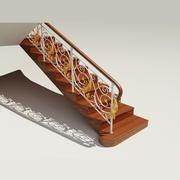클래식 난간이있는 계단 3d model