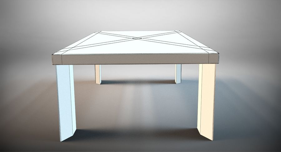 Designer Scored Dining Table royalty-free 3d model - Preview no. 11