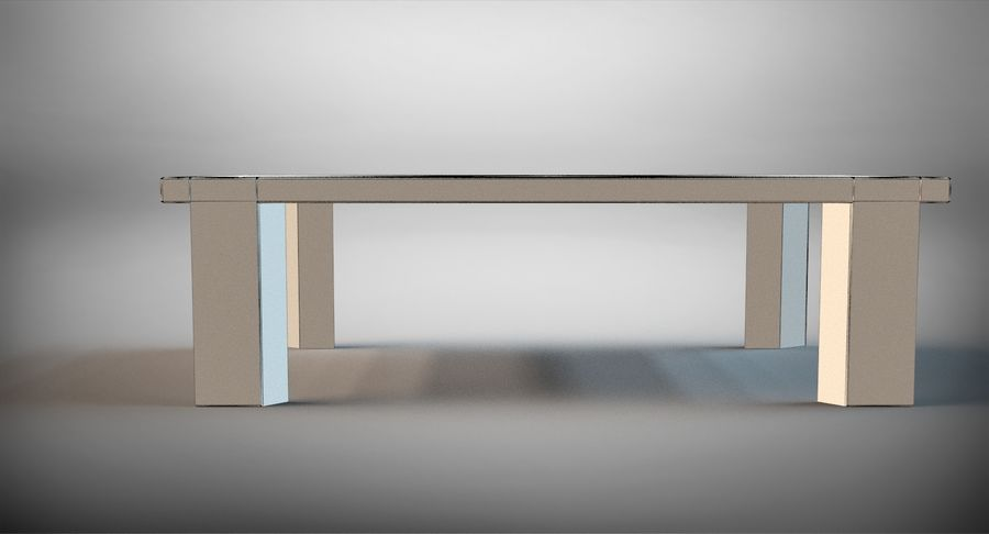 Designer Scored Dining Table royalty-free 3d model - Preview no. 10