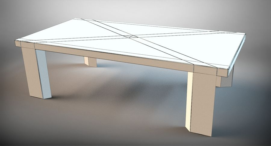 Designer Scored Dining Table royalty-free 3d model - Preview no. 9