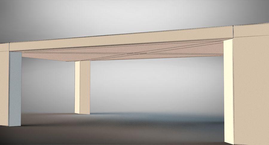 Designer Scored Dining Table royalty-free 3d model - Preview no. 12