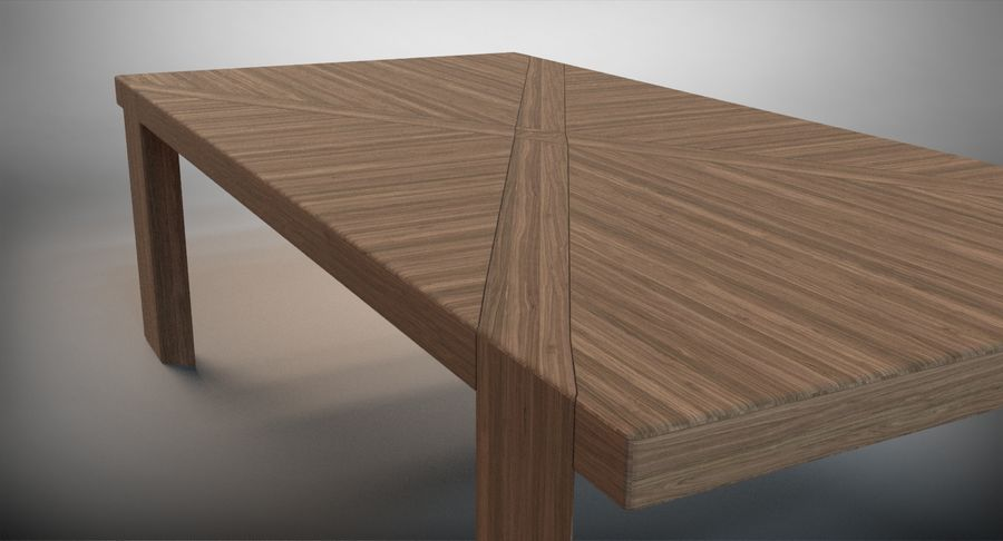 Designer Scored Dining Table royalty-free 3d model - Preview no. 7