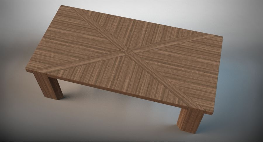 Designer Scored Dining Table royalty-free 3d model - Preview no. 6