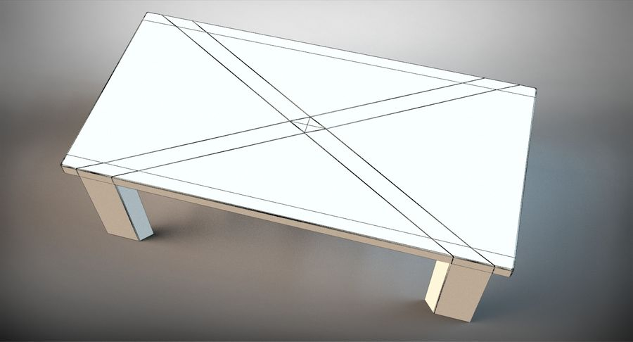 Designer Scored Dining Table royalty-free 3d model - Preview no. 13