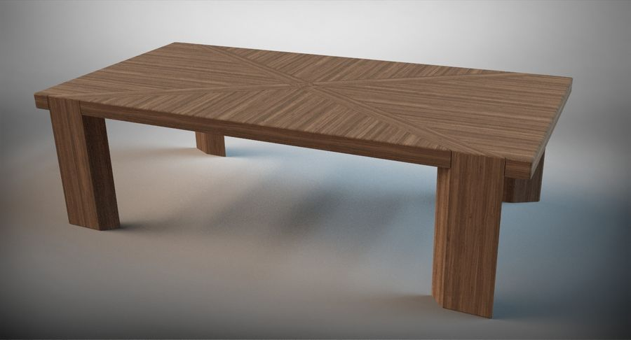 Designer Scored Dining Table royalty-free 3d model - Preview no. 2