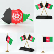 アフガニスタンの地図と国旗 3d model