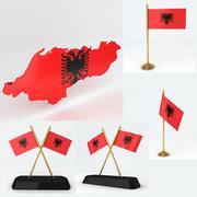 Albanie carte et drapeau 3d model