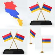 Ermenistan bayrakları ve harita 3d model