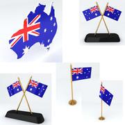 Mapa e bandeira da Austrália 3d model