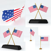 Amerika USA-flaggor och karta 3d model