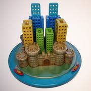 Мультфильм замок город 3d model