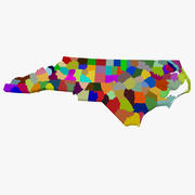 County Map - North Carolina 3d model