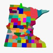 Kaart van de provincie - Minnesota 3d model
