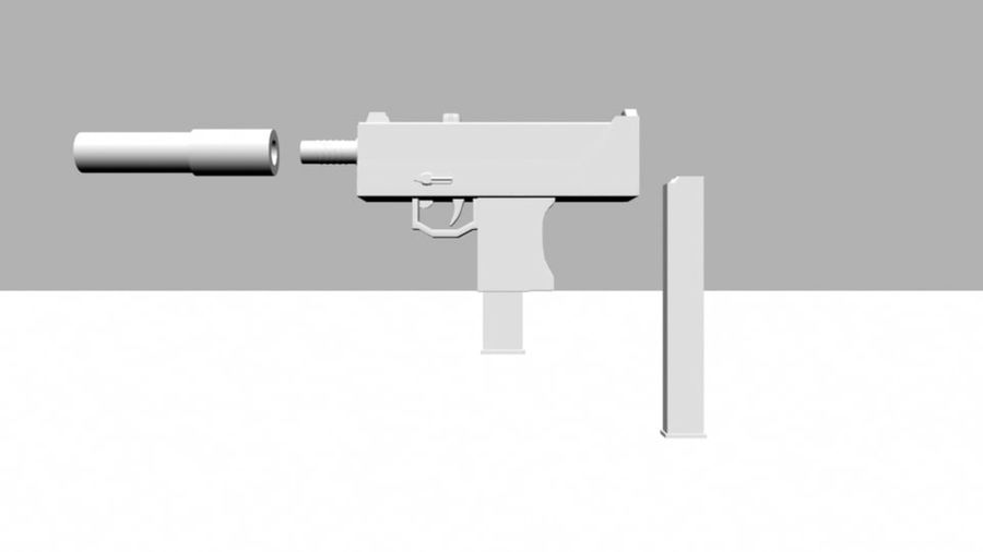 Mac 10 with Extras royalty-free 3d model - Preview no. 4
