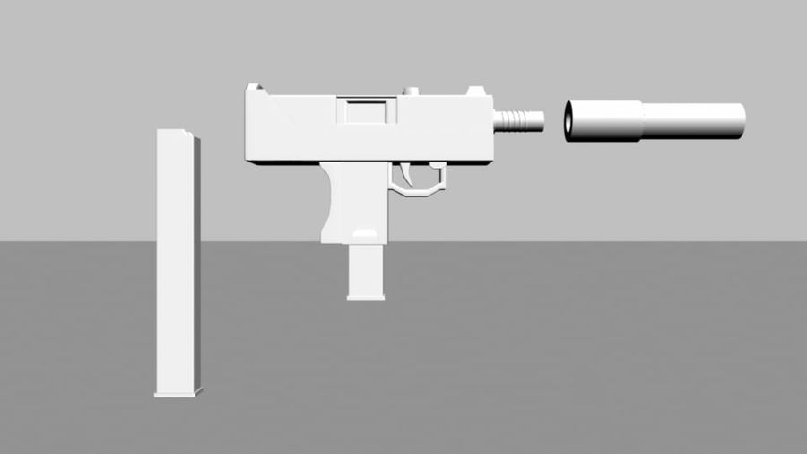 Mac 10 with Extras royalty-free 3d model - Preview no. 2