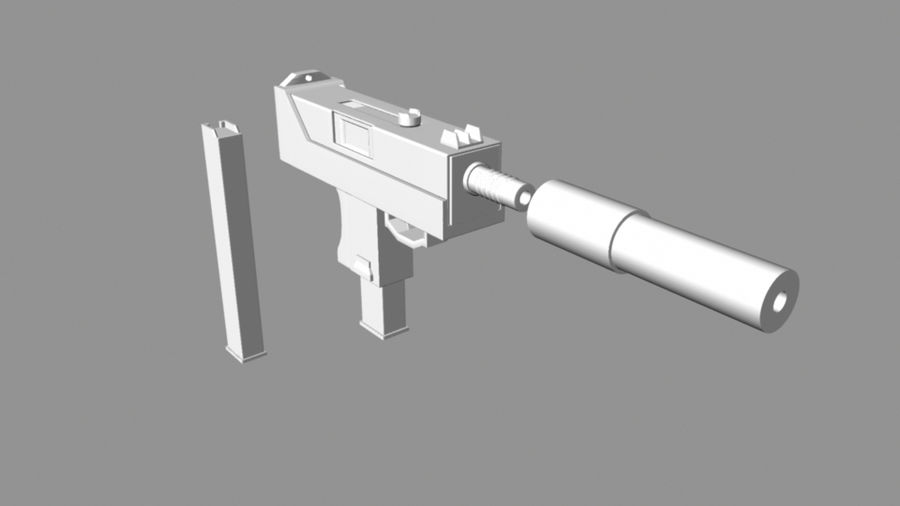 Mac 10 with Extras royalty-free 3d model - Preview no. 1