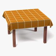 Stół z kwadratowymi obrusami 2 3d model