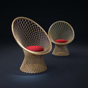 Rattan-Chairs-Basket 3d model