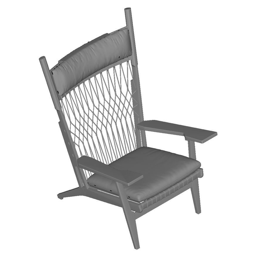 Hans-Wegner-PP129-chair royalty-free 3d model - Preview no. 10