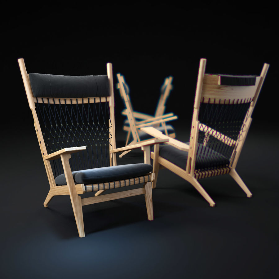 Hans-Wegner-PP129-stol royalty-free 3d model - Preview no. 1