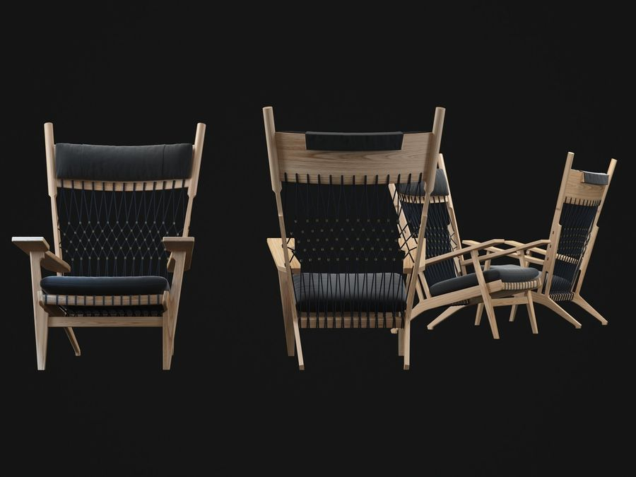 Hans-Wegner-PP129-chair royalty-free 3d model - Preview no. 6