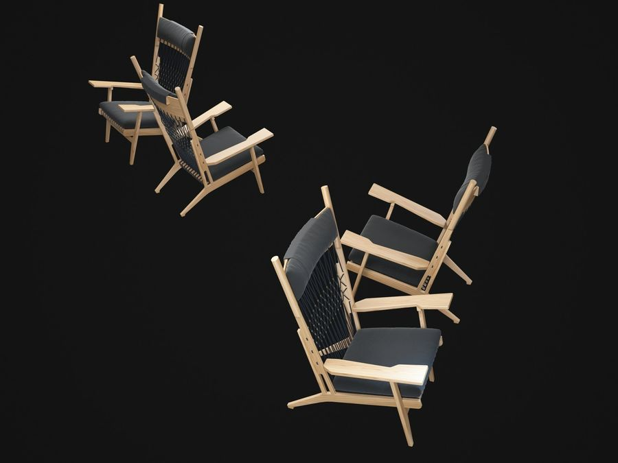 Hans-Wegner-PP129-chair royalty-free 3d model - Preview no. 3