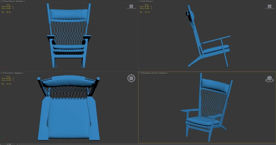 Hans-Wegner-PP129-chair royalty-free 3d model - Preview no. 9
