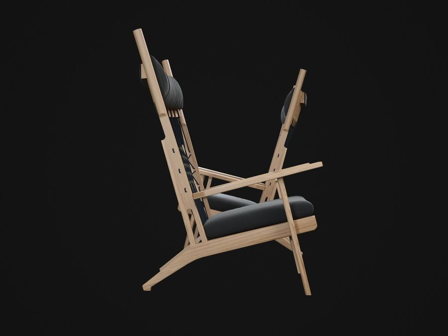 Hans-Wegner-PP129-stol royalty-free 3d model - Preview no. 5