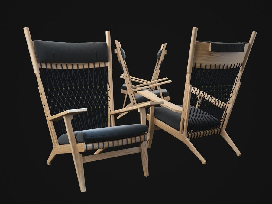 Hans-Wegner-PP129-chair royalty-free 3d model - Preview no. 2