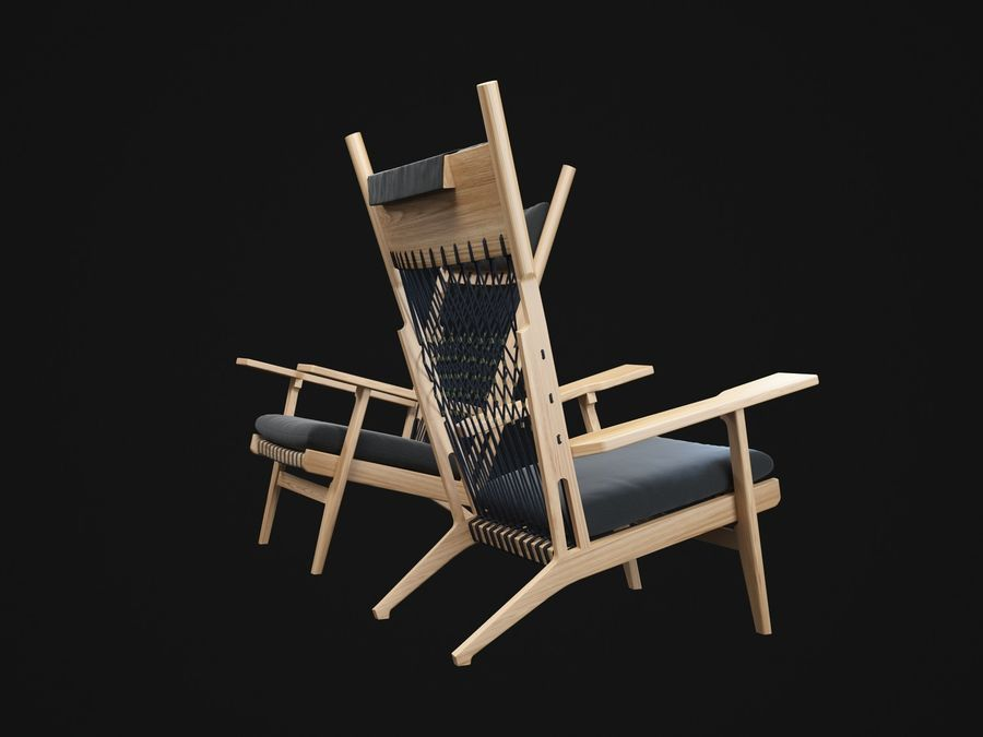 Hans-Wegner-PP129-chair royalty-free 3d model - Preview no. 4