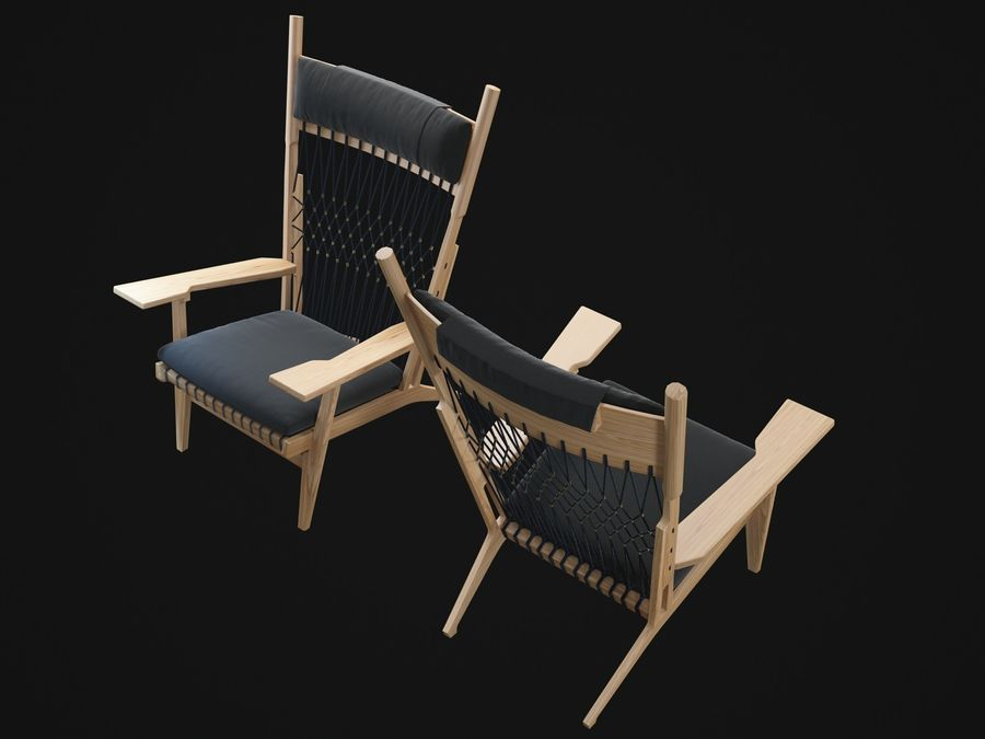 Hans-Wegner-PP129-chair royalty-free 3d model - Preview no. 7