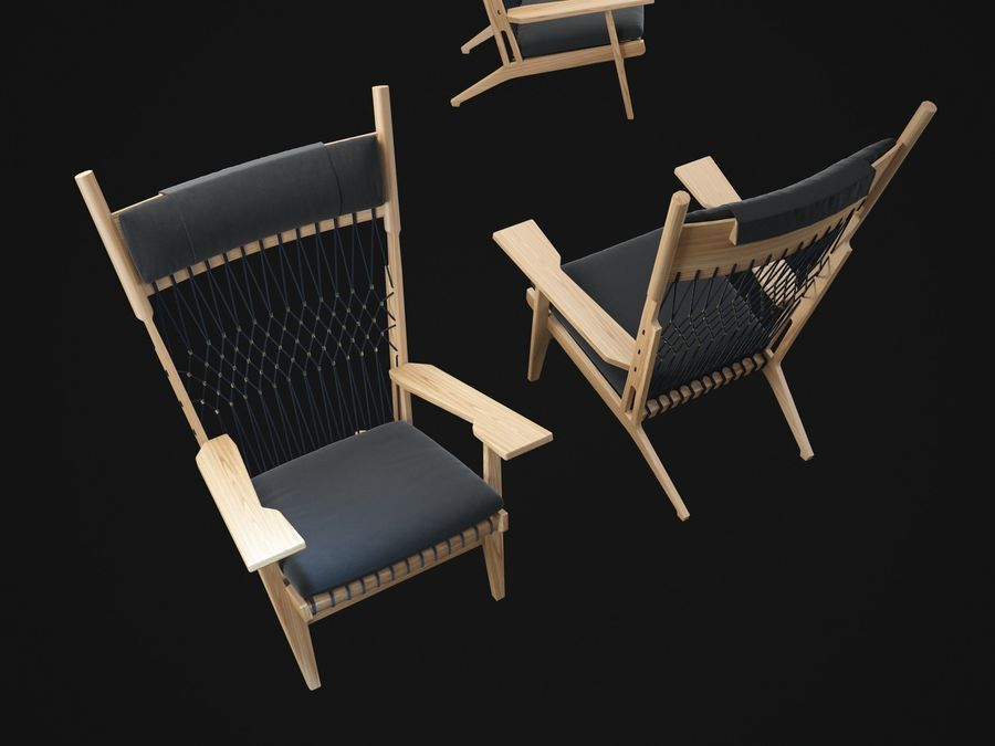 Hans-Wegner-PP129-chair royalty-free 3d model - Preview no. 8