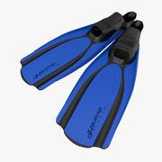 Yüzmek yüzgeçleri 2 mavi 3d model